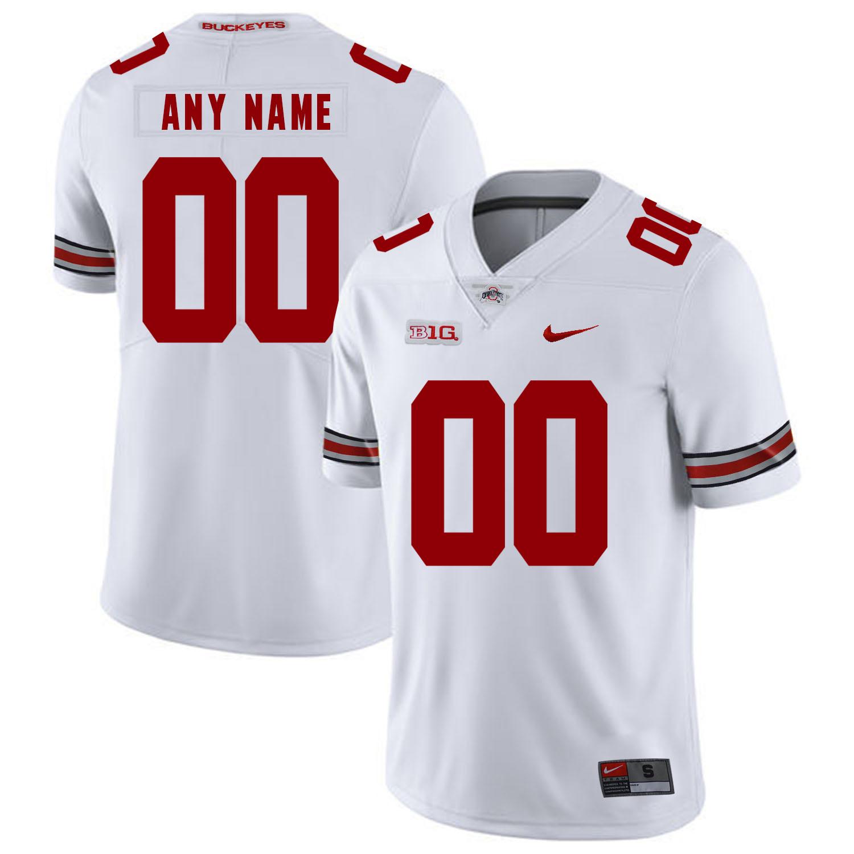 Ohio State Buckeyes White Men's Customized Nike College Football Jersey