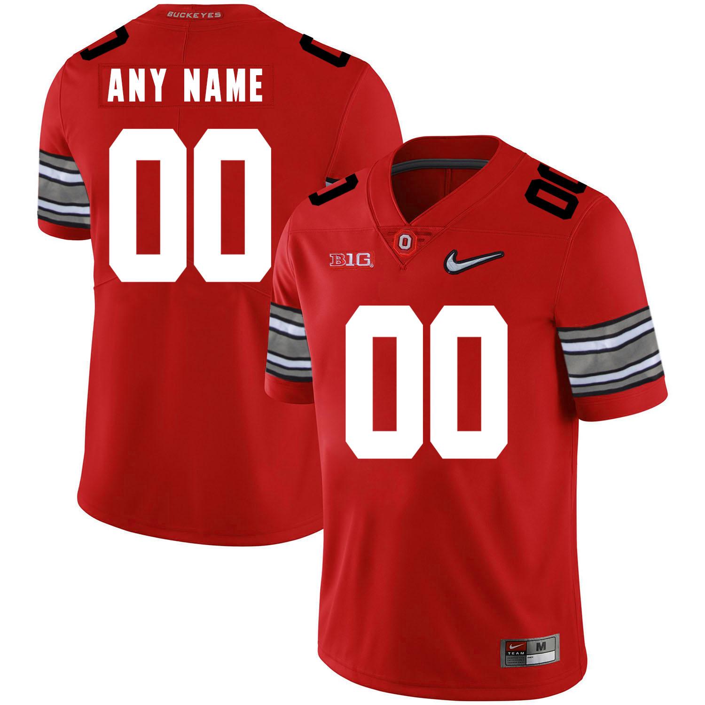 Ohio State Buckeyes White Men's Customized Red Diamond Nike Logo College Football Jersey