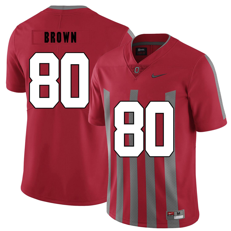 Ohio State Buckeyes 80 Noah Brown Red Elite Nike College Football Jersey