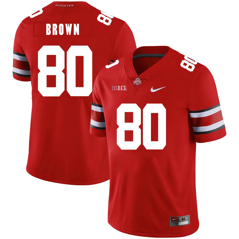 Ohio State Buckeyes 80 Noah Brown Red Nike College Football Jersey