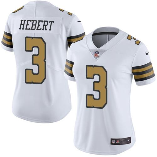 Nike Saints 3 Bobby Hebert White Women Color Rush Limited Jersey