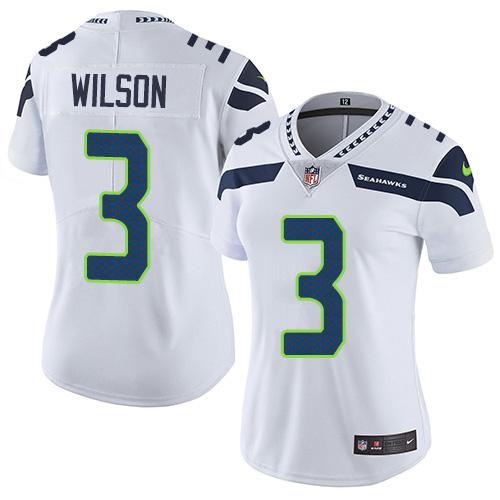 Nike Seahawks 3 Russell Wilson White Women Vapor Untouchable Limited Jersey