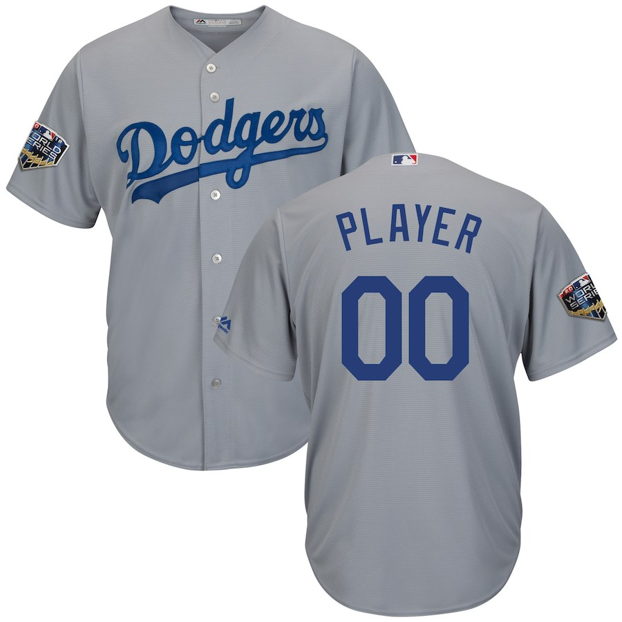 Dodgers Gray Men's 2018 World Series Cool Base Customized Jersey