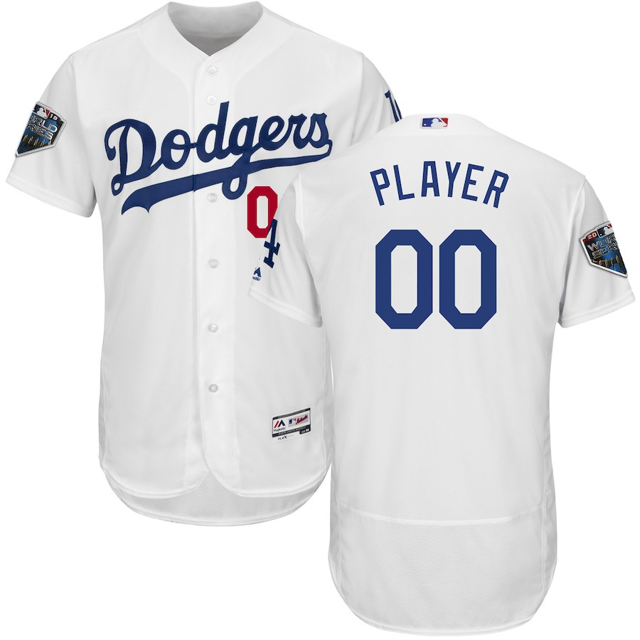 Dodgers White Men's 2018 World Series Flexbase Customized Jersey