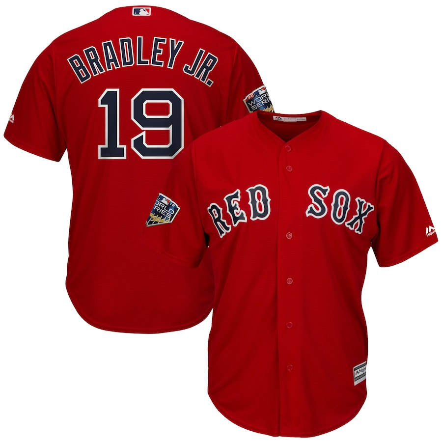 Red Sox 19 Jackie Bradley Jr. Scarlet 2018 World Series Cool Base Player Jersey