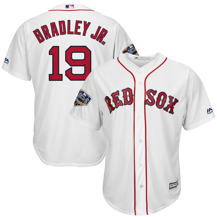 Red Sox 19 Jackie Bradley Jr. White 2018 World Series Cool Base Player Jersey