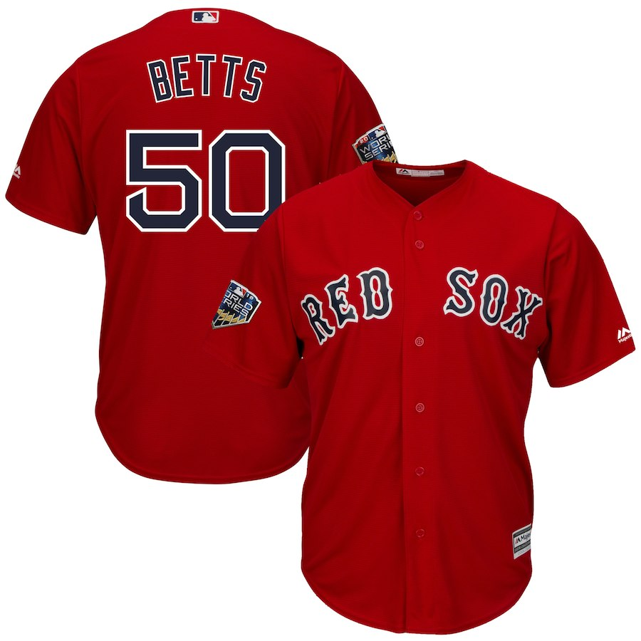Red Sox 50 Mookie Betts Scarlet 2018 World Series Cool Base Player Jersey