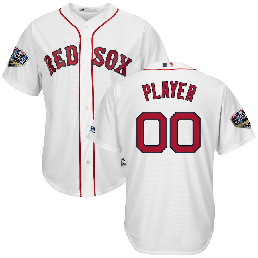 Red Sox White Men's 2018 World Series Cool Base Customized Jersey