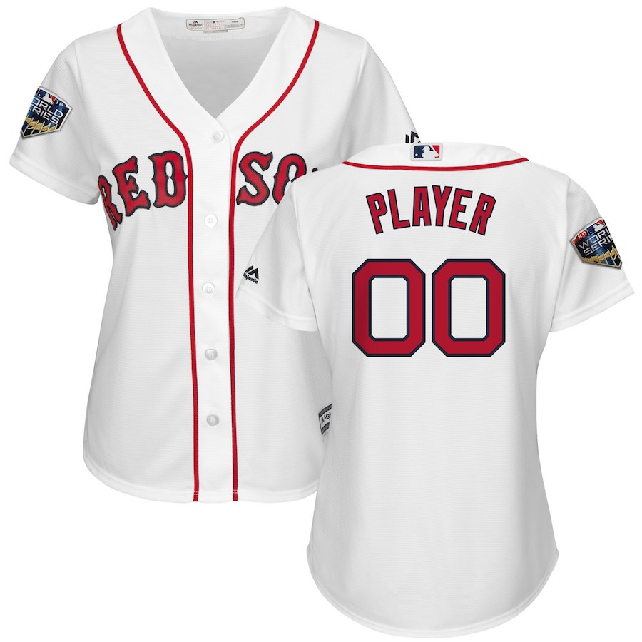 Red Sox White Women's 2018 World Series Cool Base Customized Jersey