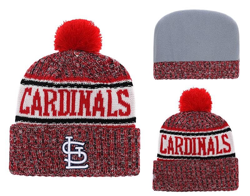 SL Cardinals Team Logo Red Cuffed Knit Hat With Pom YD