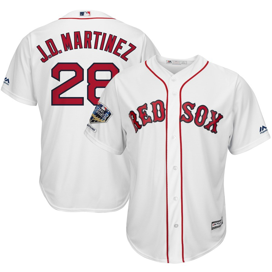 Red Sox 28 J.D. Martinez White 2018 World Series Champions Home Cool Base Player Jersey