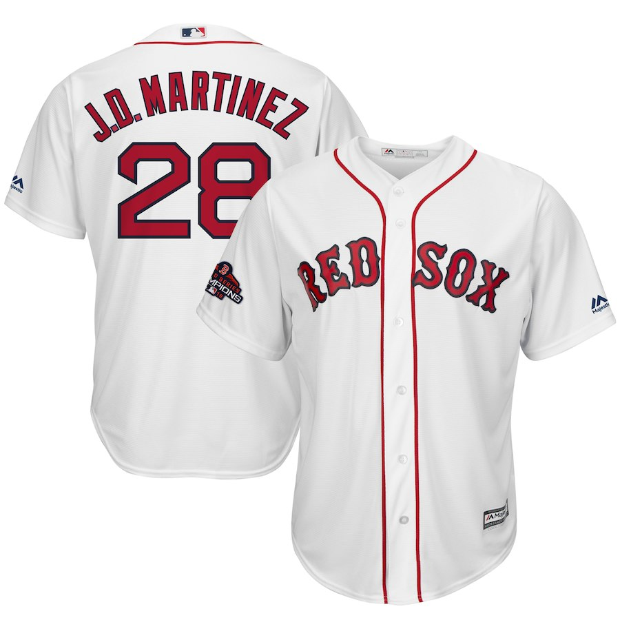 Red Sox 28 J.D. Martinez White 2018 World Series Champions Team Logo Player Jersey