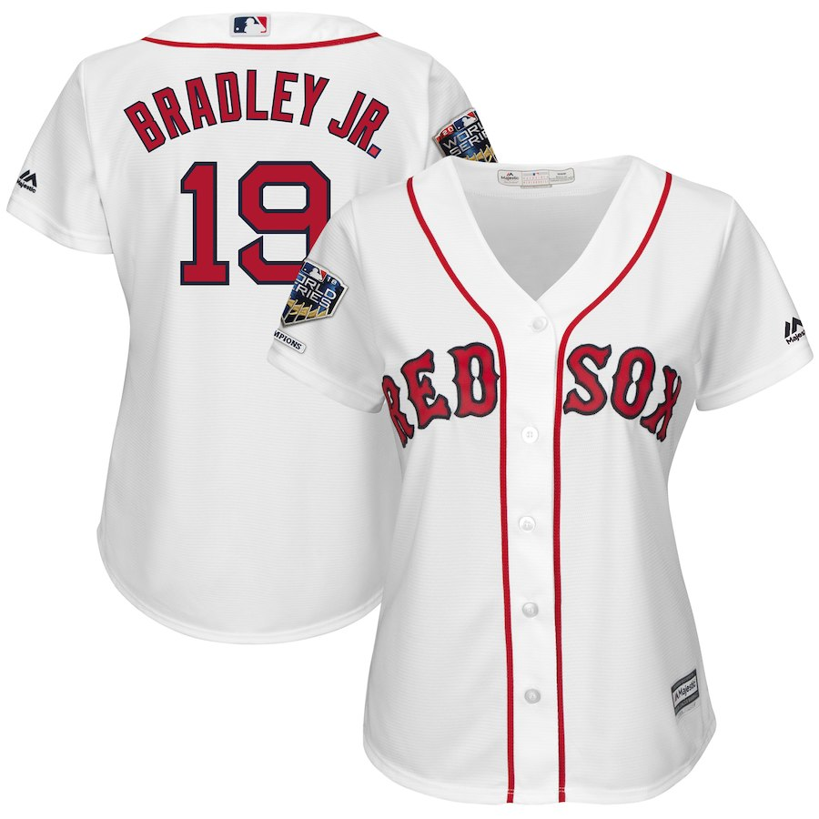 Red Sox 19 Jackie Bradley Jr. White Women 2018 World Series Champions Home Cool Base Player Jersey