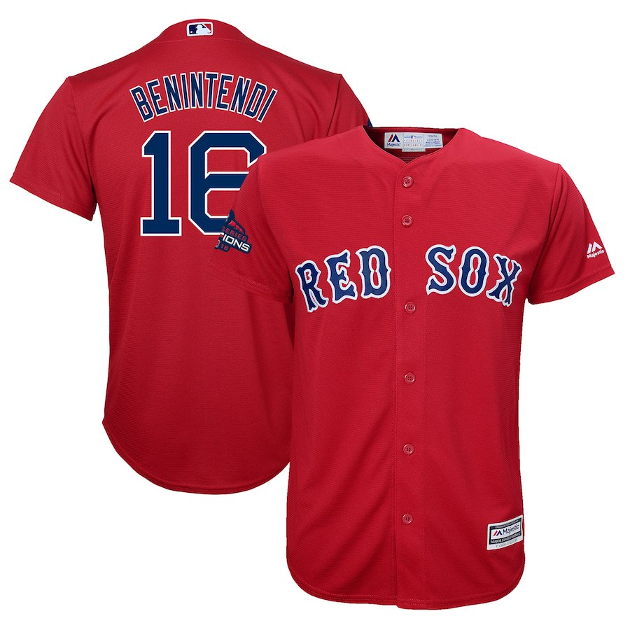Red Sox 16 Andrew Benintendi Scarlet Youth 2018 World Series Champions Team Logo Player Jersey