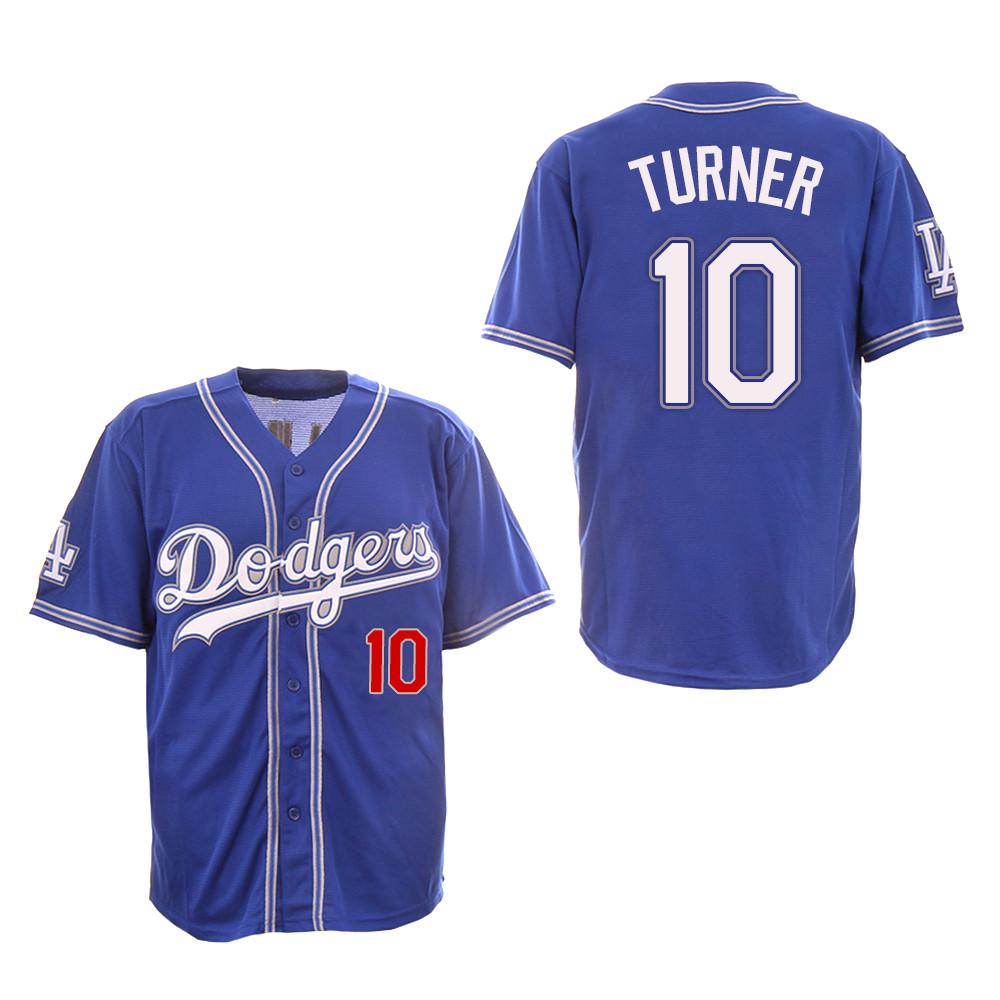 Dodgers 10 Justin Turner Royal New Design Jersey