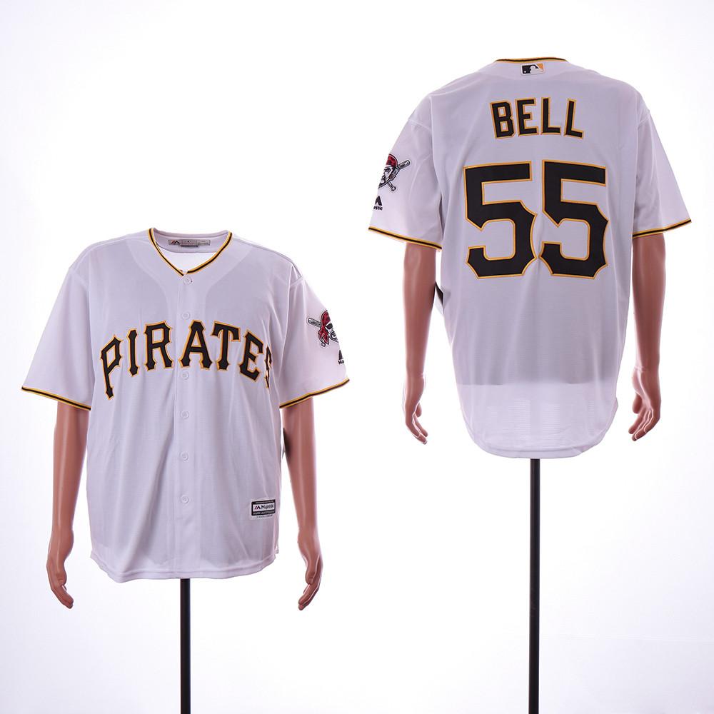 Pirates 55 Josh Bell White Cool Base Jersey