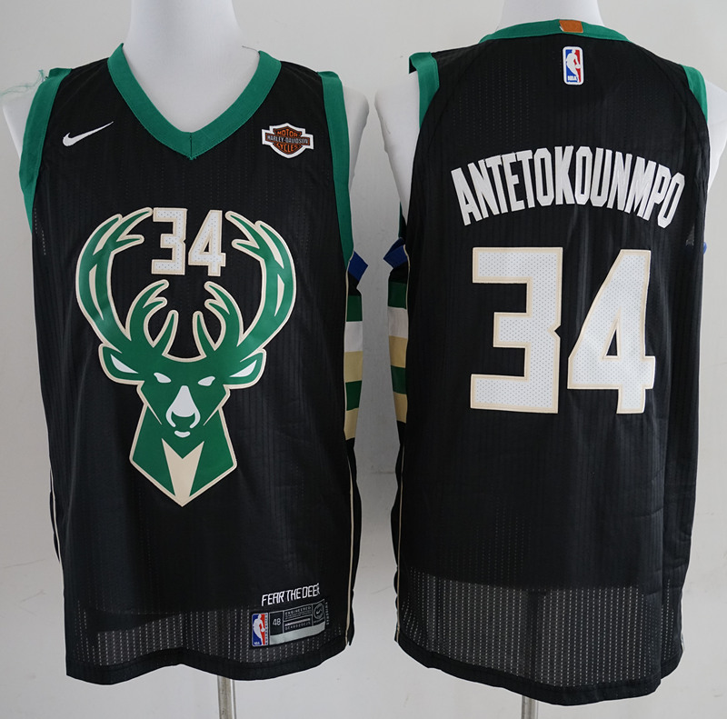 Bucks 34 Giannis Antetokounmpo Black Nike Authentic Jersey