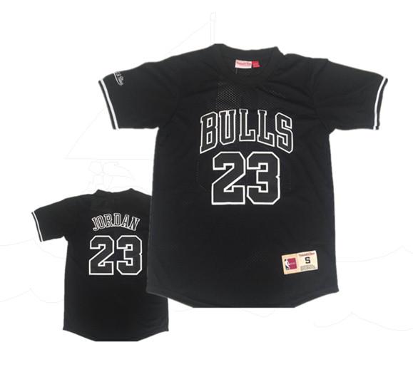 Bulls 23 Michael Jordan Black Short Sleeve Mitchell & Ness Jersey
