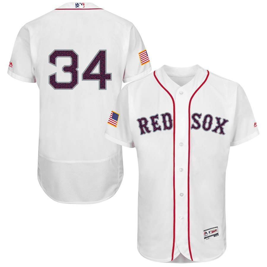 Red Sox 34 David Ortiz White Fashion Stars & Stripes Flexbase Jersey