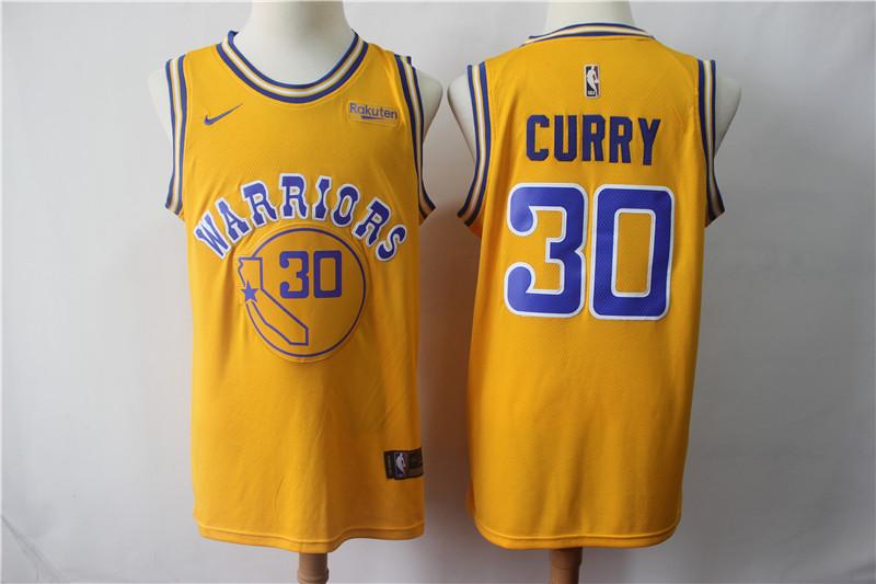 Warriors 30 Stephen Curry Gold Nike Swingman Jersey