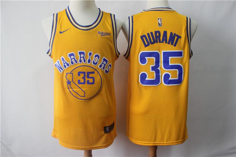 Warriors 35 Kevin Durant Gold Nike Swingman Jersey