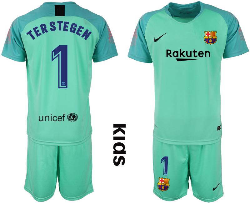 2018-19 Barcelona 1 TER STEGEN Green Youth Goalkeeper Soccer Jersey