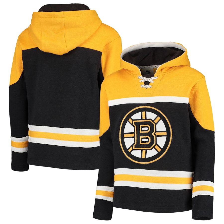 Boston Bruins Black Men's Customized All Stitched Hooded Sweatshirt