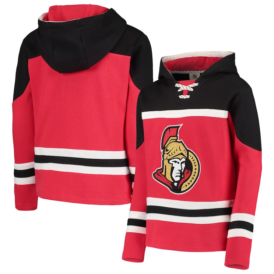 Ottawa Senators Red Men's Customized All Stitched Hooded Sweatshirt
