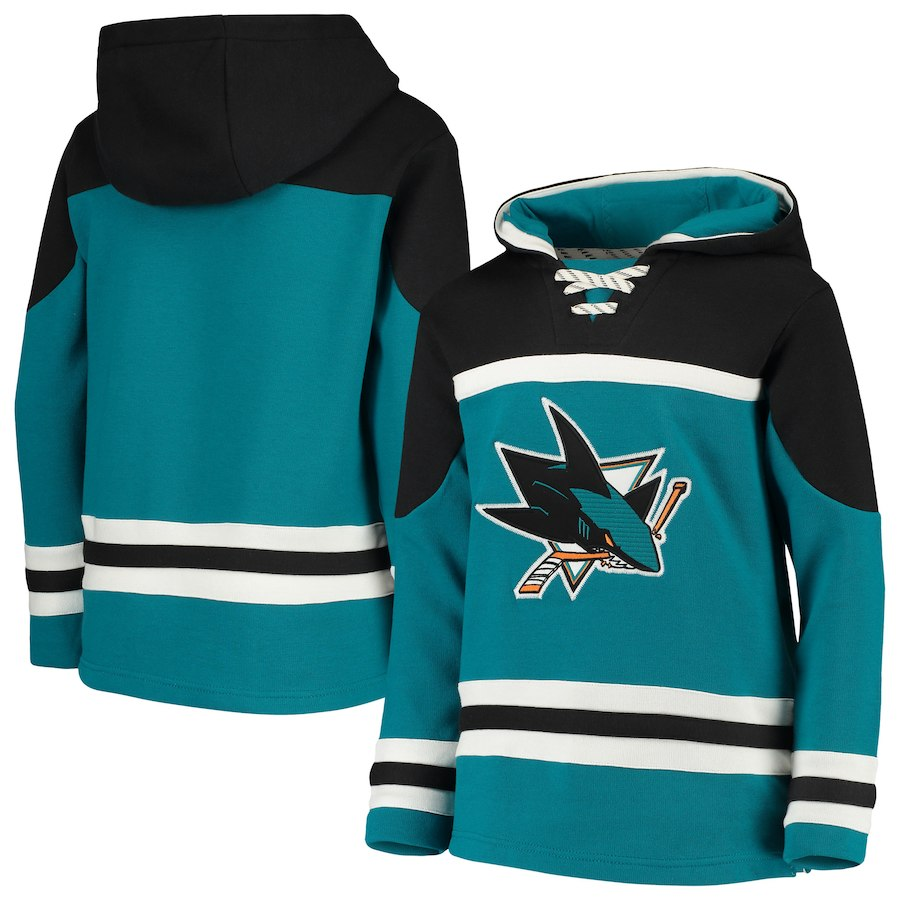 San Jose Sharks Teal Men's Customized All Stitched Hooded Sweatshirt