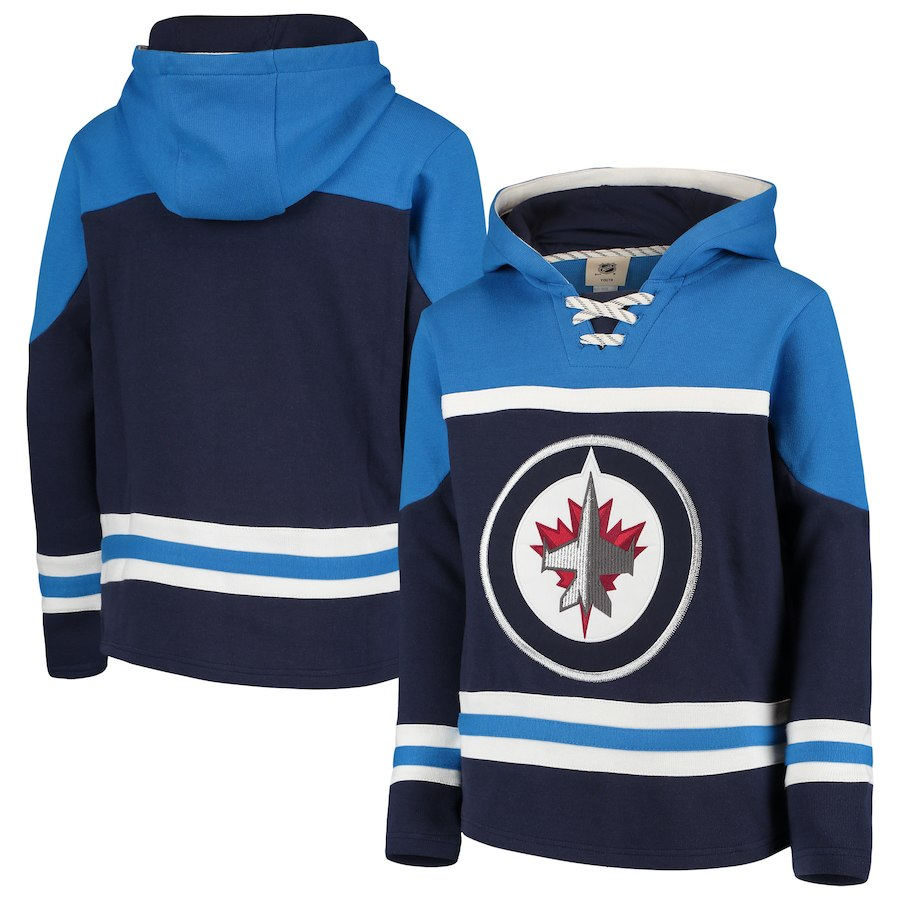 Winnipeg Jets Navy Men's Customized All Stitched Hooded Sweatshirt
