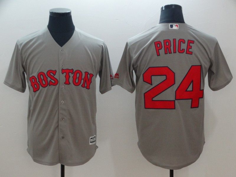Red Sox 24 David Price Gray Cool Base Jersey