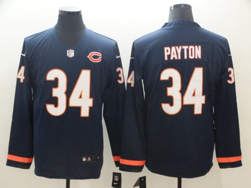 Nike Bears 34 Walter Payton Navy Therma Long Sleeve Jersey