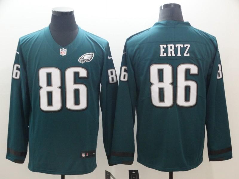 Nike Eagles 86 Zach Ertz Green Therma Long Sleeve Jersey
