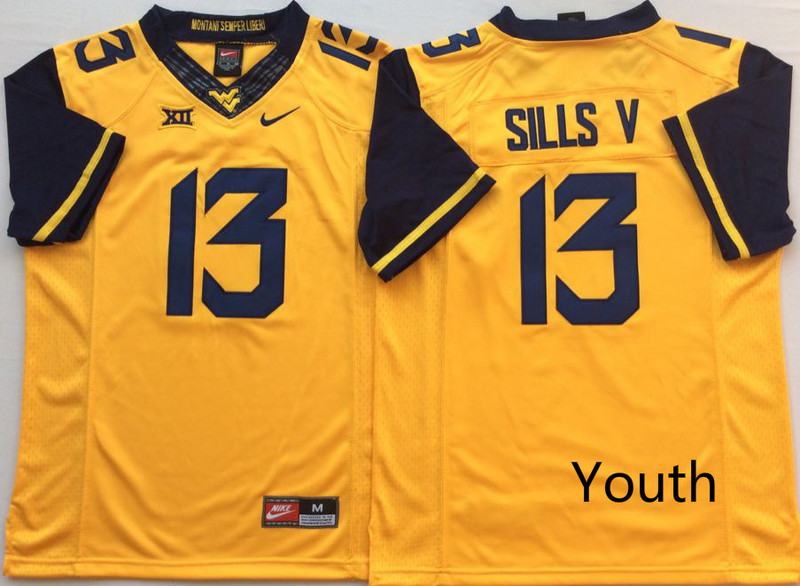 West Virginia Mountaineers 13 David Sills V Gold Youth Nike College Football Jersey
