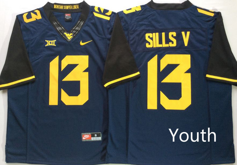 West Virginia Mountaineers 13 David Sills V Navy Youth Nike College Football Jersey
