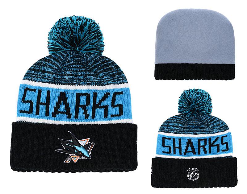 Sharks Fresh Logo Teal Pom Knit Hat YD