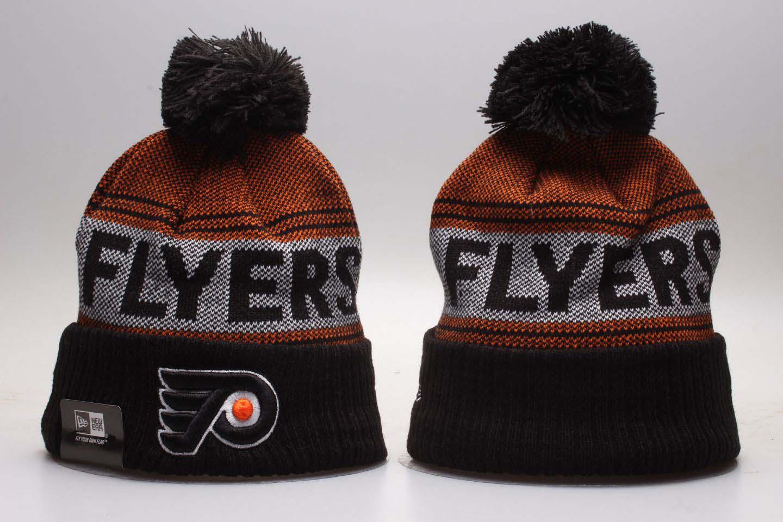 Flyers Black Mascot Cuffed Pom Knit Hat YP