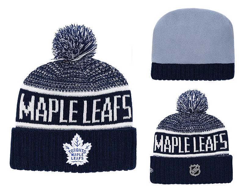 Maple Leafs Blue Rinkside Goalie Cuffed Pom Knit Hat YD