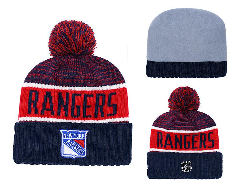 NY Rangers Navy Rinkside Goalie Cuffed Pom Knit Hat YD
