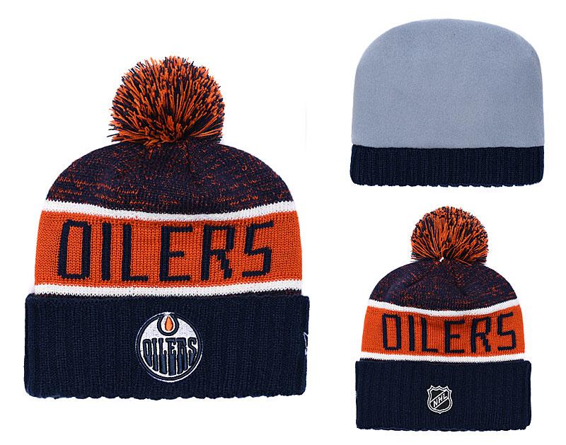 Oilers Navy Rinkside Goalie Cuffed Pom Knit Hat YD