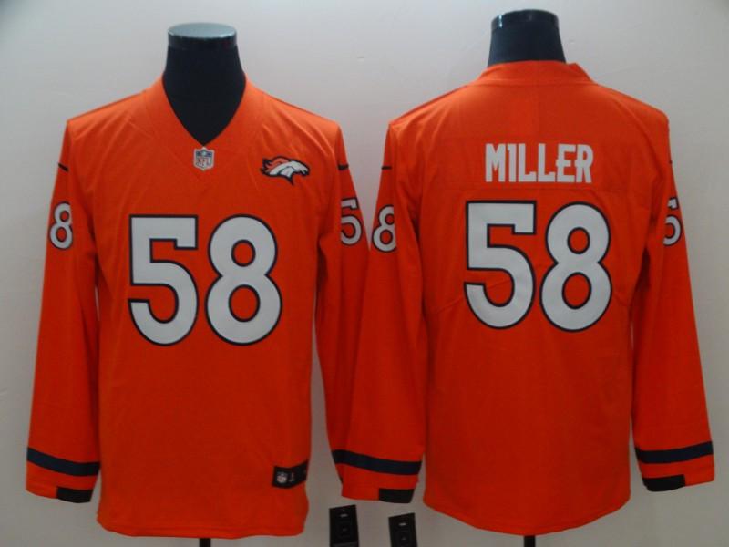 Nike Broncos 58 Von Miller Orange Therma Long Sleeve Jersey