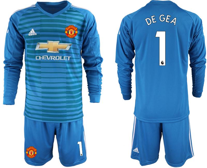 2018-19 Manchester United 1 DE GEA Blue Long Sleeve Goalkeeper Soccer Jersey