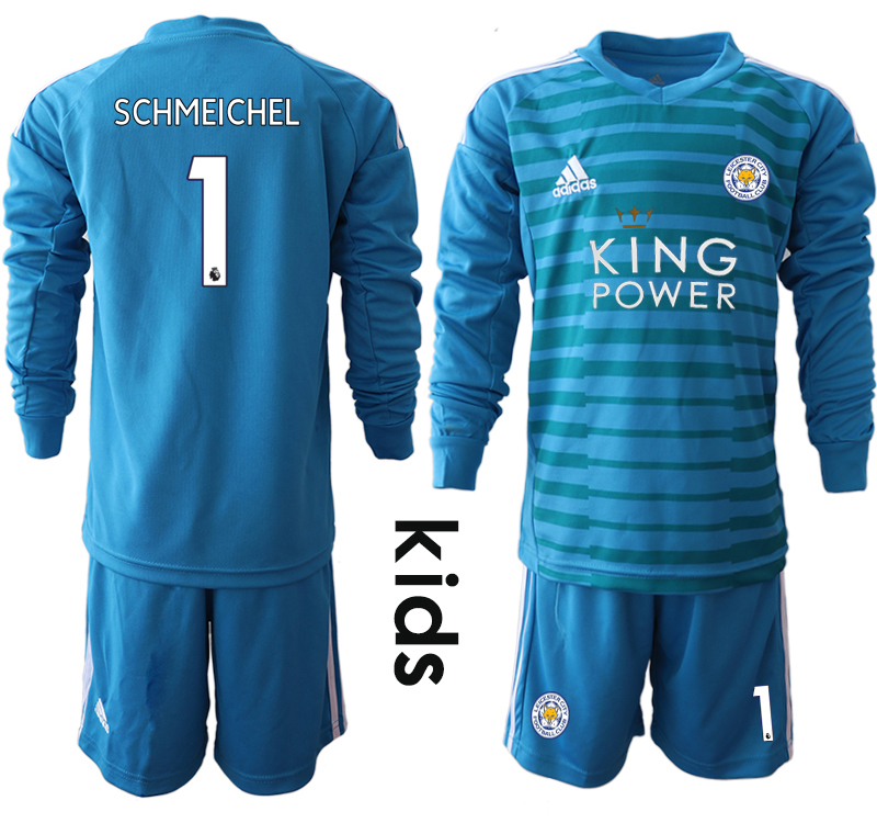 2018-19 Leicester City 1 SCHMEICHEL Blue Youth Long Sleeve Goalkeeper Soccer Jersey