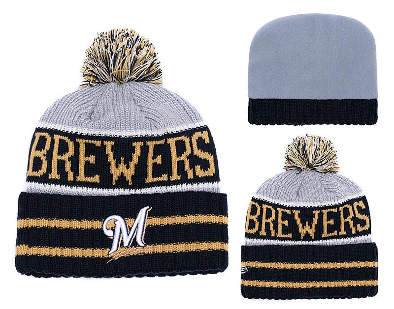 Brewers Team Logo Navy Pom Knit Hat YD