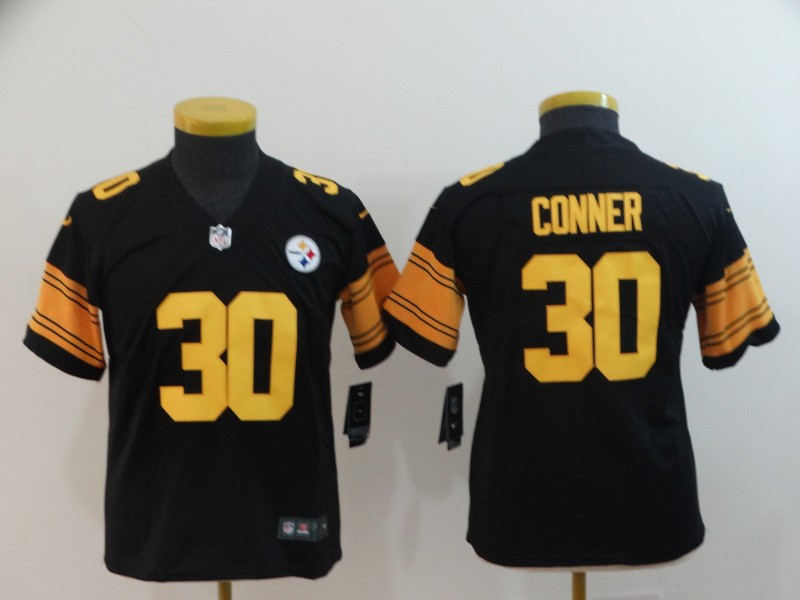 Nike Steelers 30 James Conner Black Youth Color Rush Limited Jersey
