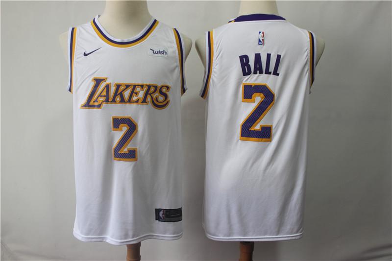 Lakers 2 Lonzo Ball White 2018-19 Nike Swingman Jersey