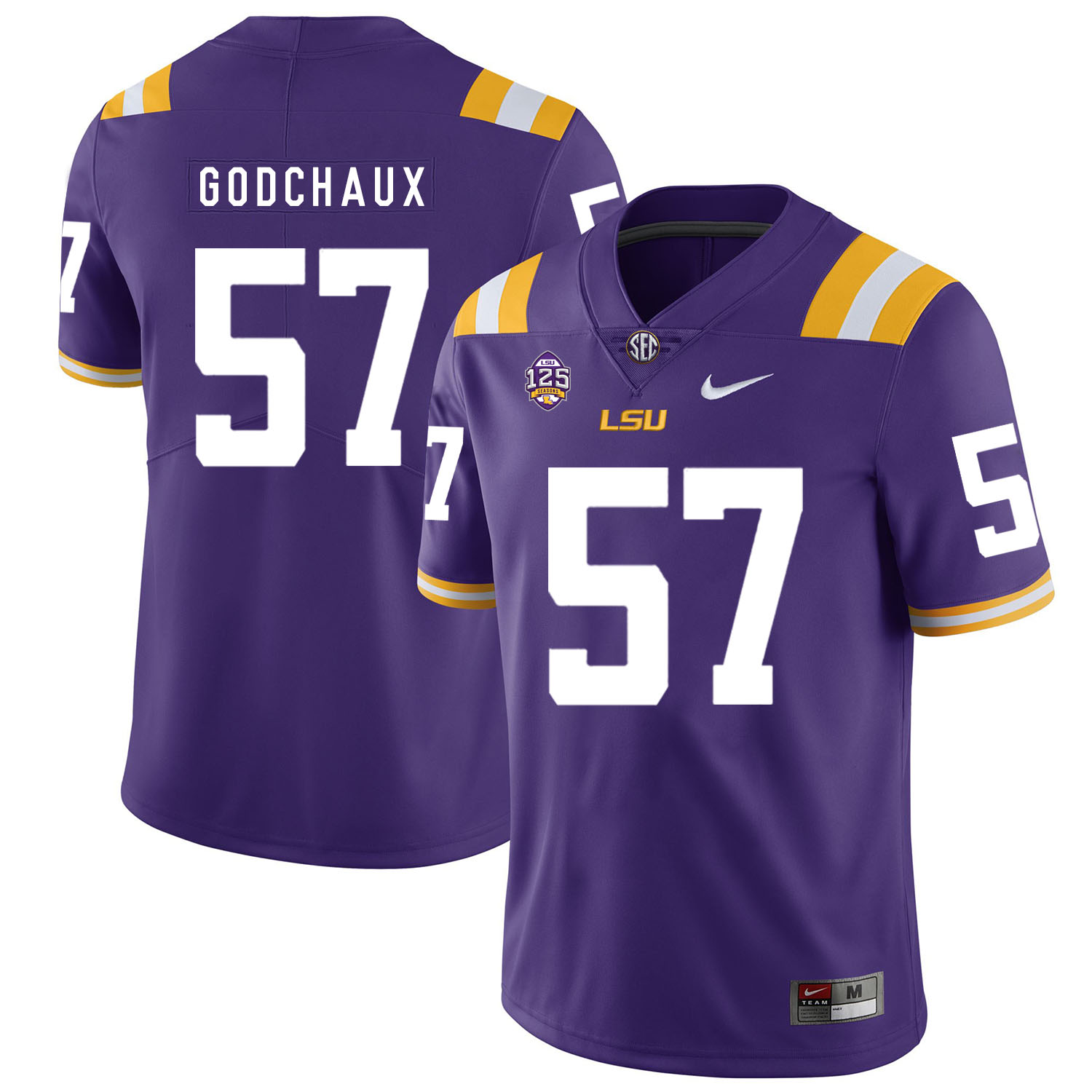 LSU Tigers 57 Davon Godchaux Purple Nike College Football Jersey