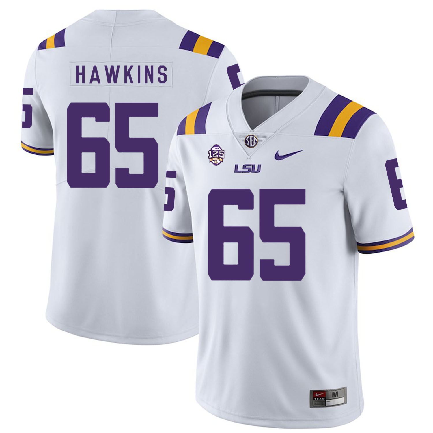 LSU Tigers 65 Jerald Hawkins White Nike College Football Jersey