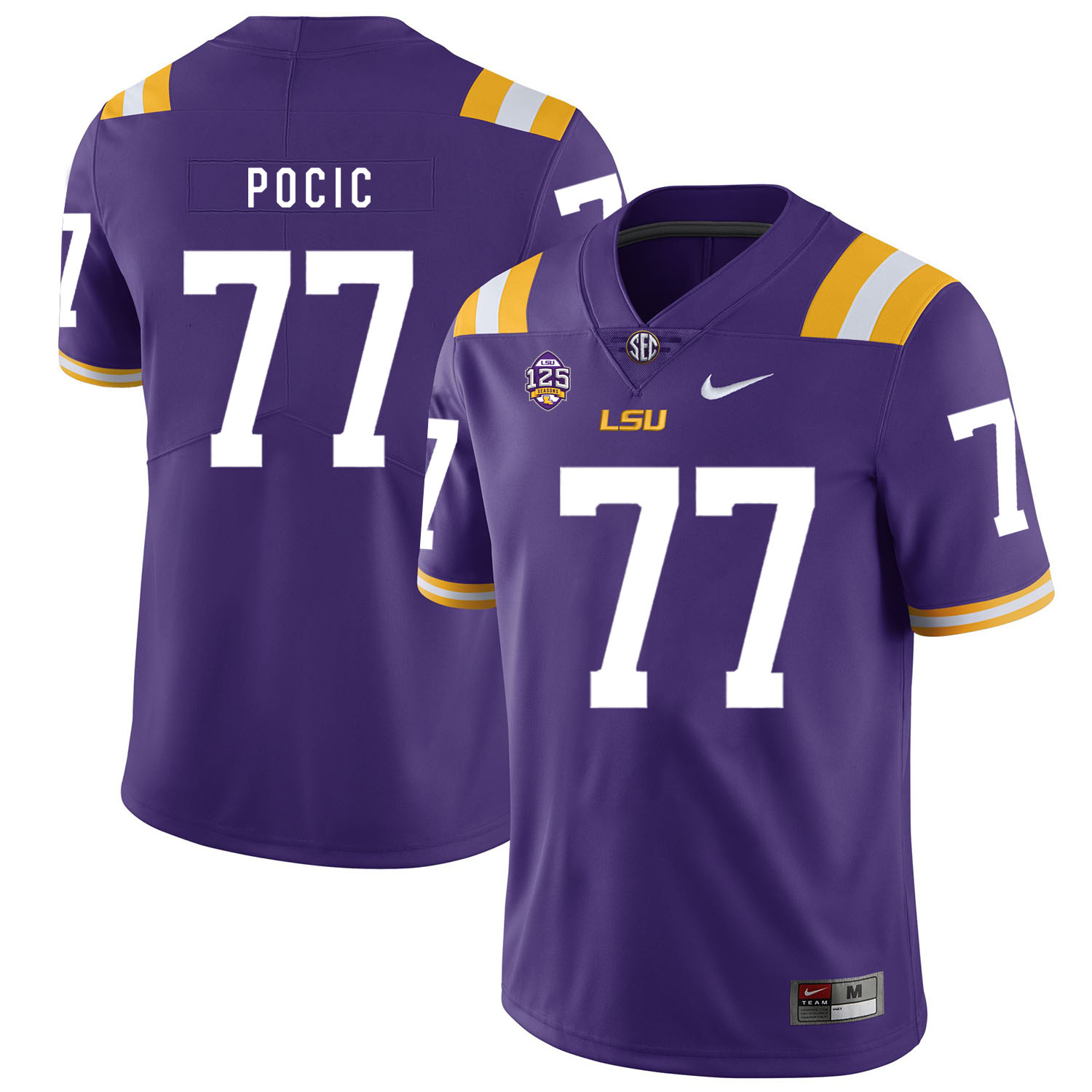 LSU Tigers 77 Ethan Pocic Purple Nike College Football Jersey