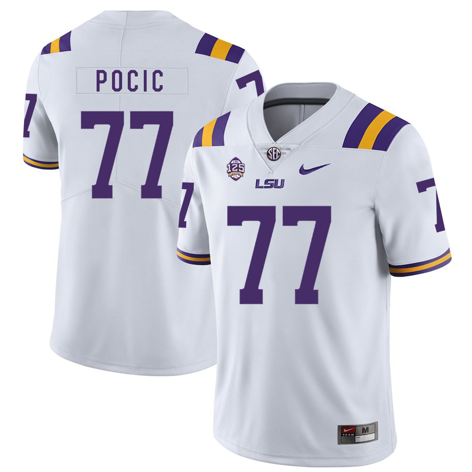 LSU Tigers 77 Ethan Pocic White Nike College Football Jersey